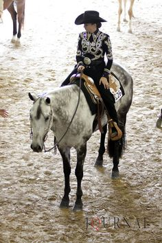 I love her saddle. And the black looks great against his dapple grey. I think a pop of bright color is needed in her rhinestones. Red, purple, green, blue, etc.