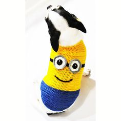 Minions Dog Costume 3D Halloween Cute Pet Costumes by myknitt