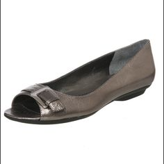 Silver peep toe flats Super cute, super comfy and barely worn! Bandolino Shoes Flats & Loafers