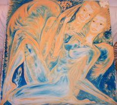 Jasmina Vladimirova, Amoureux ( Nous), 100x100 cm, Huile sur toile, Exposition Galerie  Aktuaryus 2003, Disparue