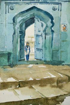 Aarti Tushar Lohaghad.. Darwaja Watercolor sketch