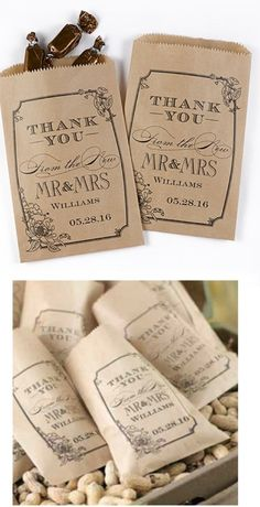 Love the old fashioned vibe from this treat bag with still retains some elegance from the font choices.  Very nice!