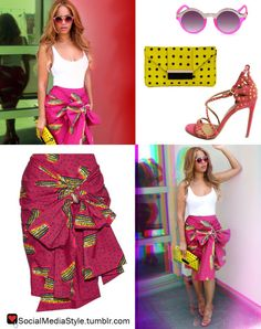 Buy Beyonce's Pink and Silver Sunglasses, Yellow and Black Polka Dot Clutch, Pink Print Skirt, and Pink Studded Sandals, here!
