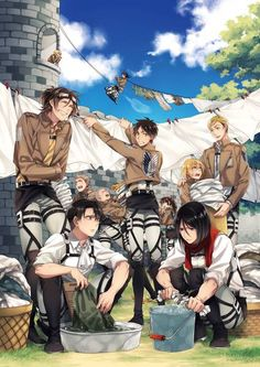 Attack on titan  Everyone cleaning the clothes
