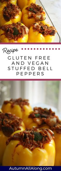 Gluten free and vegan stuffed bell peppers: yummy stuffed bell peppers that are delicious, nutrient dense, and easy to make!  Definitely one to make again for the family!  | via Autumn All Along
