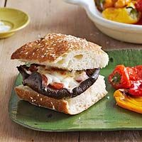 Portobello Pizza Cheeseburgers Recipe, featuring Pero Family Farms Mini Sweet Peppers!