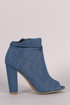 """Bamboo Denim Slouchy Peep Toe Chunky Heeled Ankle Boots. These trendy  ankle boots  feature a slouchy shaft design, peep toe silhouette, and chunky wrapped heel. Finished with a cushioned insole, soft faux fur lining, and side zipper closure for easy on/off.Material: Denim (man-made)Sole: RubberMeasurement Heel Height: 3.75"""" (approx)Shaft Length: 7.5"""" (including heel)Top Opening Circumference: 9"""" (approx)"""