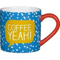 HAPPY JACKSON Coffee Yeah! mug ($12) ❤ liked on Polyvore featuring home, kitchen & dining, drinkware, food and drink, ceramic mug, polka dot mug, coffee mugs, polka dot coffee mug and ceramic coffee mugs