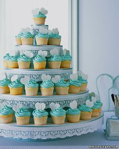 Tiffany theme wedding cupcakes
