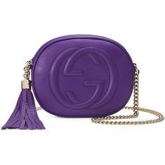 Gucci Soho Leather Mini Chain Bag ($850) ❤ liked on Polyvore featuring bags, handbags, purple, chain strap purse, gucci purses, real leather handbags, genuine leather purse and purple handbags