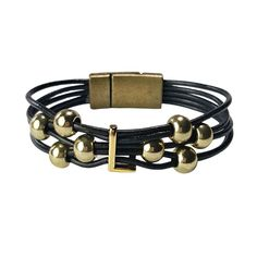 Initial L leather bracelet. Black leather with gold L and beads. #wrapyourstyle #initialjewelry #initialbracelets #initialleatherbracelets