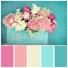 Peony photograph Joie de Vivre pink peonies by VintageChicImages Rgb Palette, Aqua Color Palette, Color Schemes Colour Palettes, Color Combos, Color Schemes With Gray, Aqua Paint Colors, Spring Color Palette, Shabby Chic Colors, Pink Peonies