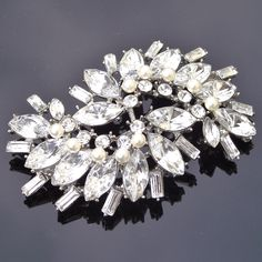 Rhinestone, Crystal and Ivory Pearl Vintage Style Brooch, ROBYN