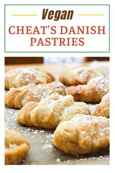 Easy Danish Pastries made with Puff Pastry Vegan Cupcakes, Vegan Cake, Vegan Desserts, Danish Pastries, Vegan Pastries, Flaky Pastry, Shortcrust Pastry, Vegetarian Breakfast, Breakfast Recipes