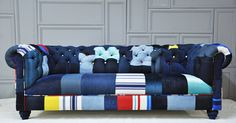 denim chesterfield patchwork sofa