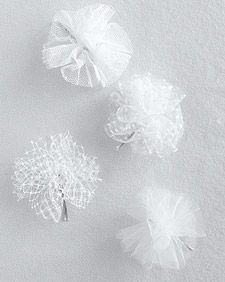 Tulle pom poms for favor boxes or garland