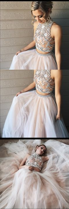 2017 long prom dress, high neck prom dress, two piece prom dress, long prom dress with open back