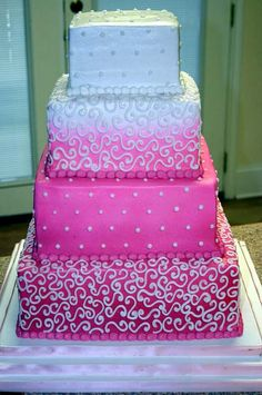 Square Pink Wedding Cakes. I like this one too!