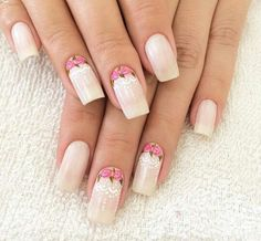 H Gel Manicure Designs, Diy Manicure, Diy Nails, Nail Designs, Manicure Ideas, Faded French Manicure, Glitter French Manicure, Pink Gold Nails, White Nails