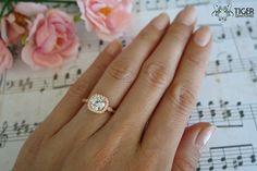 1.25 Carat Halo Vintage Inspired Engagement Ring by TigerGemstones