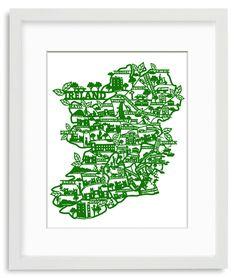 Laser cut map of Ireland - from JamArtPrints.com  #Green #mapart #walldecor Laser Cut Paper, Ireland Map, Irish Art, Map Art, Paper Size, Laser Cutting, Colours, Art Prints, Artist