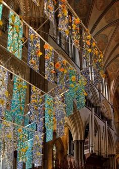 Chandelier installed for the duration of a spectacular flower show at Salisbury Cathedral, England