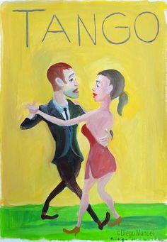 """""""Pareja de tango 5 """", acrílico sobre papel, 25 X 30 cm , 2004"""