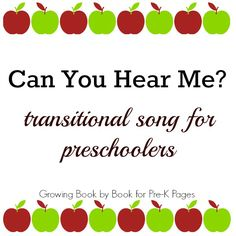 Transition Song for the Preschool Classroom - Pre-K Pages
