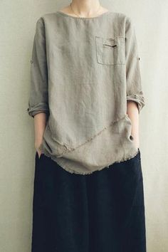 Cotton-Linen Retro Old Loose T-shirt