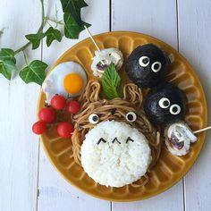 #bento #ghibli #food #breakfast Japanese Food Art, Japanese Lunch, Japanese Dishes, Cute Food, Good Food, Yummy Food, Food Art Bento, Kawaii Bento, Bento Recipes