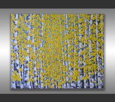 "ORIGINAL Fine Art Modern Birch Trees Painting Aspen Forest Textured Landscape Home Decor 30x24"" Abstract Palette Knife Artwork, unique gift by ZarasShop"