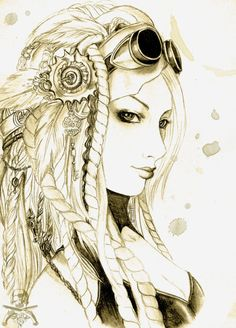 Kinda mermaid-y Original link http://dziu09.deviantart.com/art/Steampunk-portrait-148836956