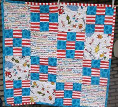 "Seuss Cat in the hat lorax green eggs and ham 36/""x36/"" Rag quilt blanket Baby Dr"