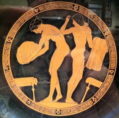 Red figured Attic kylix - two women at the toillete. Attributed to Douris - c. 470 BC - New York, Metropolitan Museum - cliché VTGR