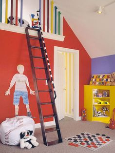 Your attic is a large empty space ideal for a toy room. Use primary colors, build shelves and a loft!  I even want to play here!!!!