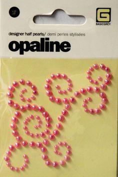 Basic Grey Opaline Designer Pink Swirl Half Pearls Adhesive Embellishments are available at Scrapbookfare.