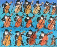 ArtGalery ° PERSONALART.PL tytuł/title: 16 bass/16 kontrabasistów autor: Edward Dwurnik personalart.pl/Edward-Dwurnik