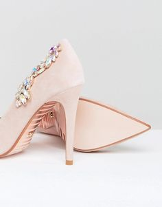 Dune London Bridal Bestowed Pink Suede Court Shoe with Irredesent Beading - Blush suede Dune London hAI1S5j