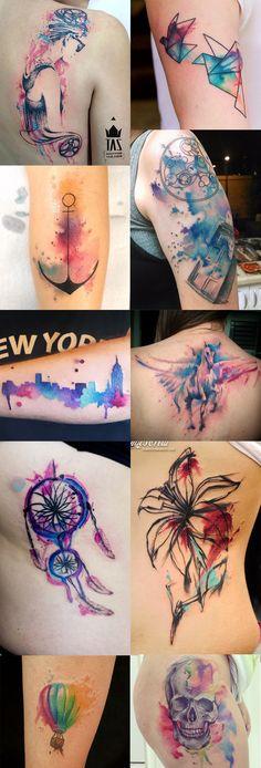 Inspiração: Watercolor tattoo - Purpple