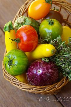 Fresh from the farmer's market this morning: red onion, red, yellow and green…