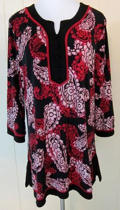 Style & Co Women's Sz L Tunic Top 3/4 Sleeve Red Black Pink Floral Paisley #Styleco #Tunic