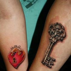 Couples heart and key tattoo: live the key detail!