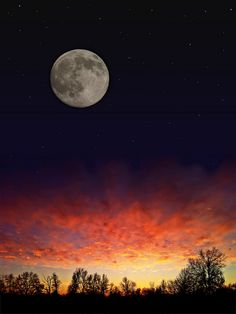 Moon Over Burning Sky [A Composite Image] by Aaron Fuhrman, via Flickr