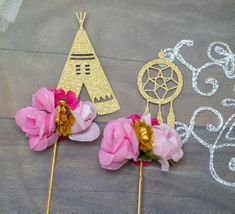 Cupcake Toppers, Cupcake Picks, Boho Baby Shower, Boho Party  Decorations, Boho Chic Theme Party,Tribal Party Decor, Dream catcher Set 6 #catchmyparty #partyideas #bohocupcakes #bohocupcaketoppers