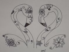Sugar Skull Flamingos in Love Pen and Ink by SpunSugarMenagerie, $25.00