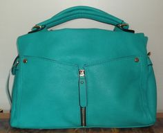"""Stitch Fix August 2015. Urban Expressions Carter Zipper Detail Satchel in Turquoise. Roomy bag measuring 13"""" wide 9"""" high. It has an optional crossbody strap. https://www.stitchfix.com/referral/4292370"""