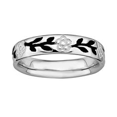 Stacks and Stones Sterling Silver Black and White Enamel Flower Stack Ring, Women's, Size: 10, Grey