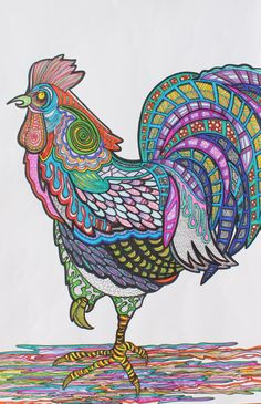 Rooster--Sharpie/Zentangle Art--Great exercise for the Elements of Art and Principles of Design
