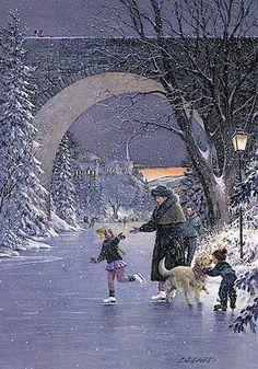 """Winter Eve"" by Douglas Laird http://www.pinterest.com/jedeaf/vintage-christmas-photos/"