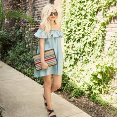 Off shoulder chambray ruffle dress summer fashion mexican clutch